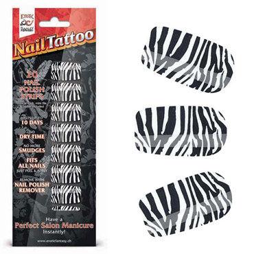 Erotic Fantasy Nail Tattoo, зебра Набор лаковых полосок для ногтей erotic fantasy nail tattoo леопард