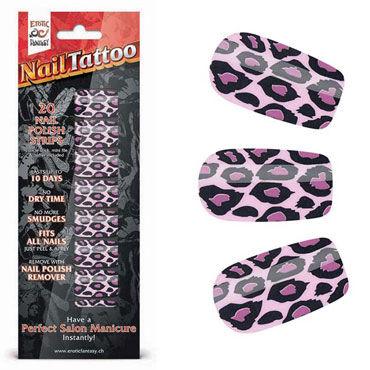 Erotic Fantasy Nail Tattoo, фиолетовый леопард Набор лаковых полосок для ногтей erotic fantasy nail tattoo леопард
