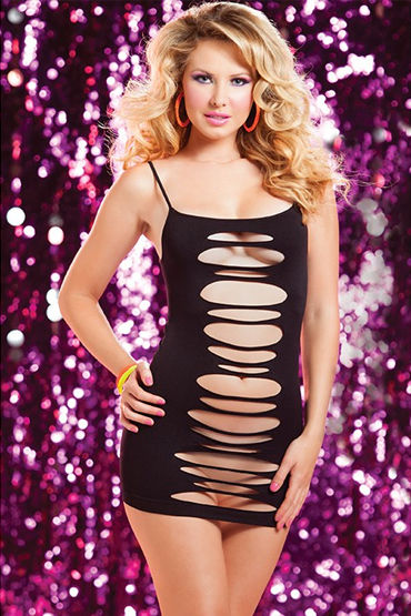 Seven til Midnight платье, черное С горизонтальными вырезами чулки seven til midnight большого размера в сетку с кружевной резинкой xl белый