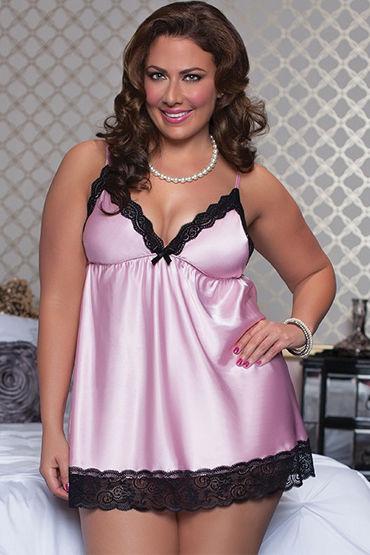 Seven til Midnight комплект, розовый Атласный бэби-долл и стринги seven til midnight комплект белый сексуальное платье с кружевом и стринги