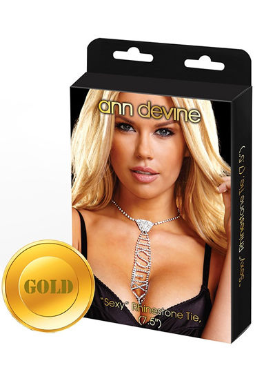 Ann Devine Phinestone Tie Sexy, золотой Галстук с игривой надписью а бюстгальтеры откровенные с вырезами материал искусственная кожа