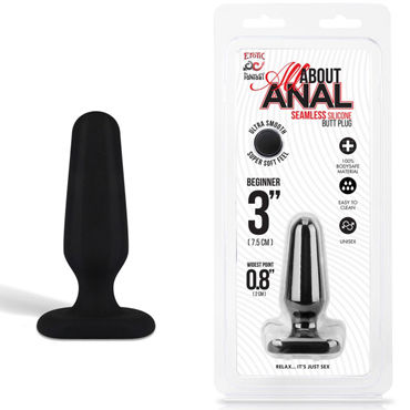 Erotic Fantasy All About Anal Butt Plug, черный, 6,5 см Анальный плаг из ультра бархатистого силикона long glass penis dildos anal beads butt plug anus pleasure erotic sex toys for women and men gay adult products 260 30 mm