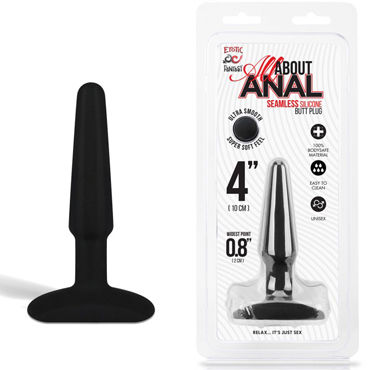Erotic Fantasy All About Anal Butt Plug, черный, 9 см Анальный плаг из ультра бархатистого силикона prostate massager vibrating anal plug 12 mode silicone anal sex toy anal vibrator butt plug erotic sex product for women