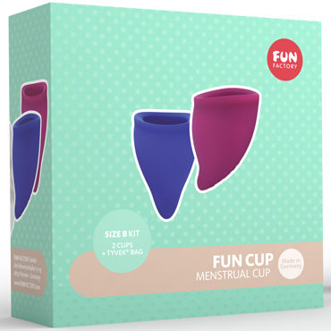 Fun Factory Fun Cup Size B, синяя и фиолетовая Набор менструальных чаш new man silicone vagina real aircraft cup male masturbator small artificial pocket pussy penis pump toys adult fun sex products for men
