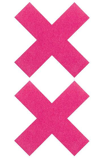 Shots Toys Nipple Sticker Cross, розовые Пэстисы Х-образной формы shots toys nipple sticker skull красные