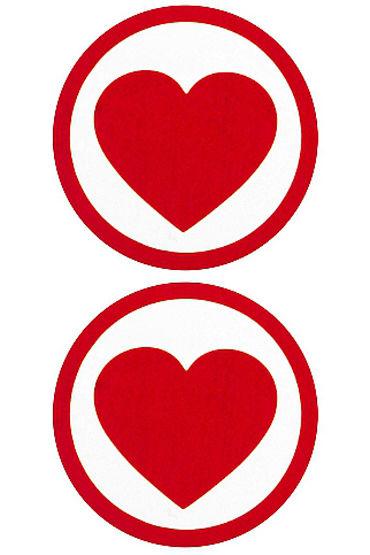 Shots Toys Nipple Sticker Round Hearts, красные Пэстисы в форме сердца в кругу л shots toys nipple sticker butterfly красные