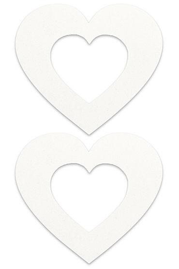 Shots Toys Nipple Sticker Open Hearts, белые Пэстисы в форме сердечек, с отверстиями для сосков shots toys nipple sticker blossom фиолетовые пэстисы в форме цветочков