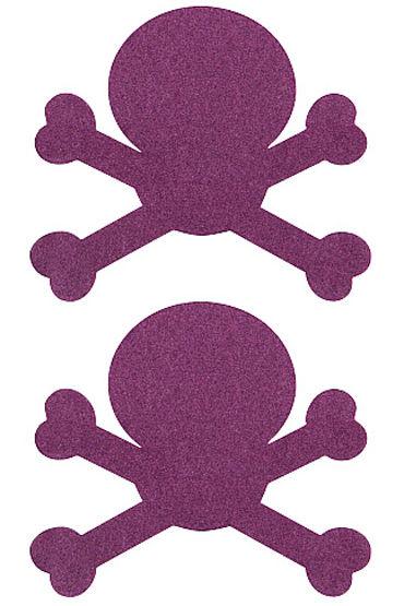 Shots Toys Nipple Sticker Skull, фиолетовые Пэстисы в форме черепов aomei 0042a diy long hair skull pvc car decor removable car wall sticker black size l