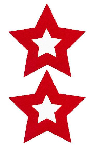 Shots Toys Nipple Sticker Stars, красные Пэстисы в форме звездочек shots toys nipple sticker skull красные