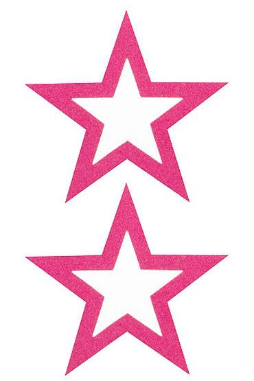 Shots Toys Nipple Sticker Open Stars, розовые Пэстисы в форме звездочек, с отверстиями для сосков pipedream nipple clit jewelry