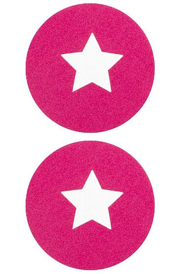 Shots Toys Nipple Sticker Round Open Stars, розовые Пэстисы в форме кругов, с отверстиями в форме звездочек