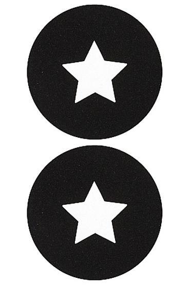 Shots Toys Nipple Sticker Round Open Stars, черные Пэстисы в форме кругов, с отверстиями в форме звездочек shots toys nipple sticker stars фиолетовые пэстисы в форме звездочек