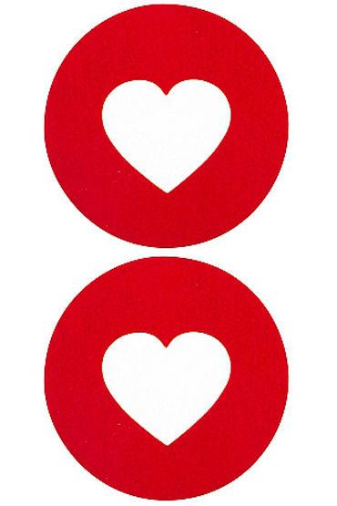 Shots Toys Nipple Sticker Round Open Hearts, красные Пэстисы в форме кругов, с отверстиями в форме сердечек shots toys nipple sticker skull красные