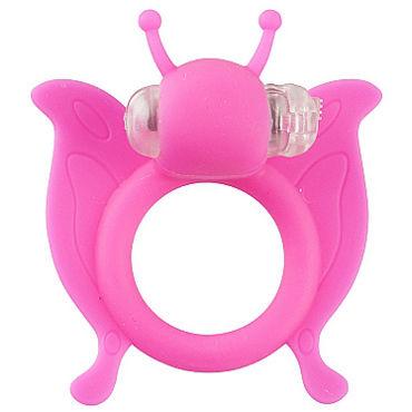 Shots Toys Butterfly, розовое Эрекционное виброкольцо в виде бабочки shots toys sono chain cockring 4 черное эрекционное кольцо