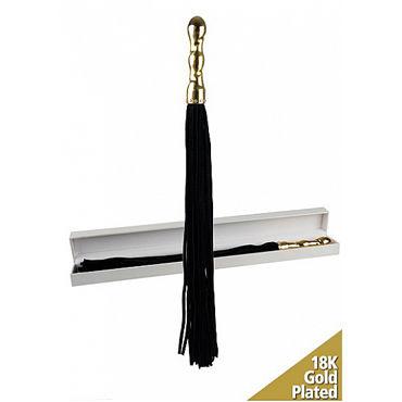 Shots Toys Luxury Whip, черная Многохвостая плеть, с золотой рукояткой magoon love fantasy 100 мл ароматизированное массажное масло