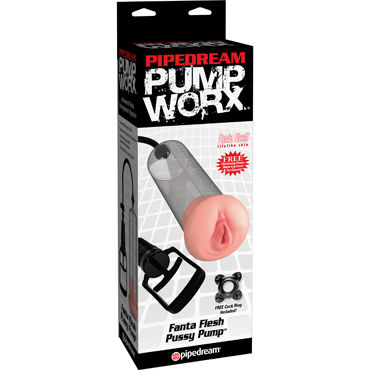 Pipedream Pump Worx Fanta Flesh Pussy Pump Вакуумная помпа с мастурбатором помпа для пениса автоматическая maximizer worx vx3 черная
