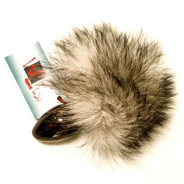 Wild Lust Анальная пробка 3,2см, черная С серым заячьим хвостом wild lust анальная пробка 40 мм черная с тонированным лисьим хвостом