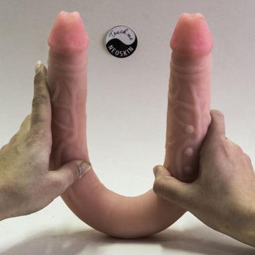 Bioclon Фаллоимитатор реалистичной формы, телесный Двухсторонний baile фаллоимитатор реалистик телесный с набухшими венками