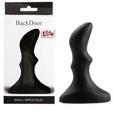 Lola Toys Back Door Small Ripple Plug, черная Маленькая анальная пробка с волнистым рельефом lola toys first time curved anal plug розовая рельефная анальная втулка на присоске
