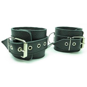 BDSM Арсенал кожаные наручники, черные На регулируемых ремешках bdsm арсенал стек королевский черный из прочного сердечника