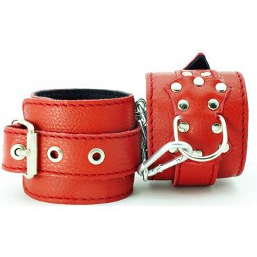 BDSM Арсенал кожаные оковы с пряжкой, красные На регулируемых ремешках bdsm арсенал двухстороння маска коричневая с металлическими заклепками