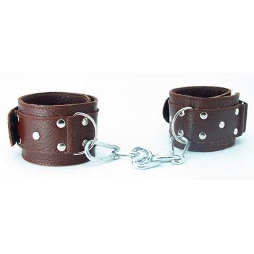 BDSM Арсенал кожаные наручники на липучках, коричневые Регулируются по размеру podium наручники милицейские