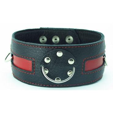 BDSM Арсенал ошейник с заклепками, черно-красный С тремя кольцами для карабинов ошейник черно красный на пряжке