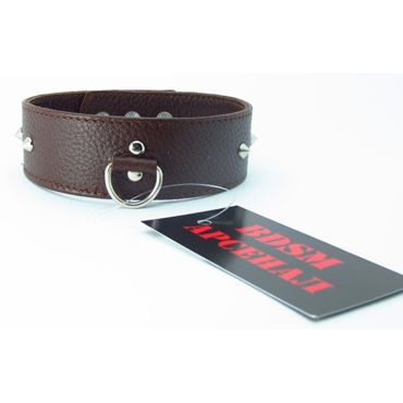 BDSM Арсенал ошейник с шипами, коричневый С кольцом для карабина durex long play купить киев