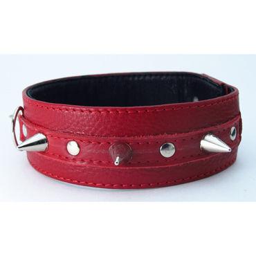 BDSM Арсенал ошейник с кольцом для поводка, красный Декорирован шипами страпон 8 с полостью