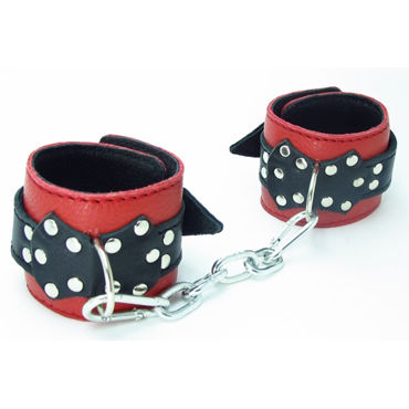 BDSM Арсенал кожаные поножи с пряжкой, красно-черные На регулируемых ремешках bdsm арсенал стек королевский черный из прочного сердечника
