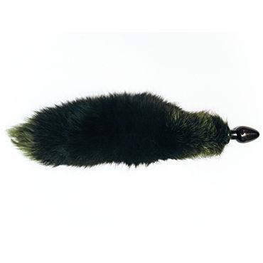 Wild Lust анальная пробка 6 см, черно-зеленая С лисьим хвостом wild lust анальная пробка 4см оранжево черный с заячьим хвостом