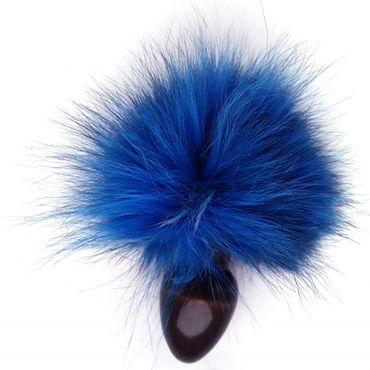 Wild Lust Анальная пробка 3,2см, черная С голубым заячьим хвостом wild lust анальная пробка 4см черная с голубым заячьим хвостом