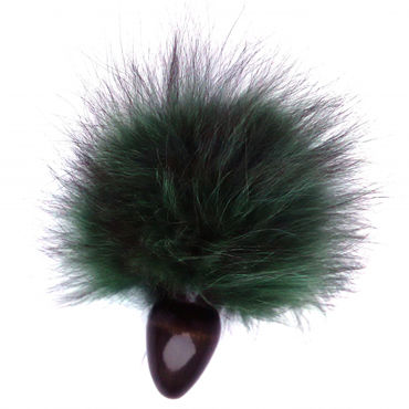 Wild Lust Анальная пробка 4 см, черно-зеленая С заячьим хвостом wild lust анальная пробка 4см оранжево черный с заячьим хвостом