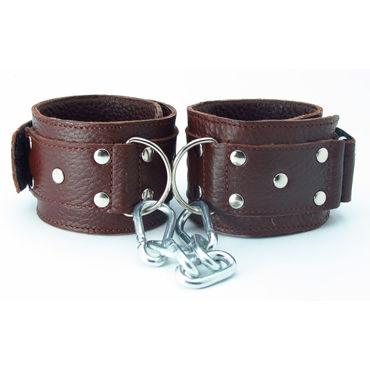 BDSM Арсенал кожаные наручники, коричневые На регулируемых ремешках bdsm арсенал двухстороння маска коричневая с металлическими заклепками
