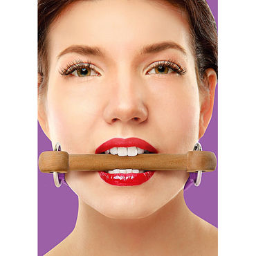 Ouch! Wooden Bridle, с фиолетовым ремешком Кляп в форме палочки shunga divine oral pleasure 10 мл средство 3в1 с ароматом кокоса