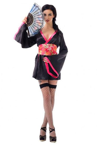 Le Frivole Азиатская соблазнительница Кимоно, пояс, веер, чулки roxana комплект розовый с рюшами с черной кружевной тесьмой
