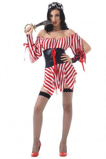Le Frivole Морская разбойница Платье, повязка на глаз, головной убор, чулки и кинжал shirley комплект черный сорочка с прозрачными вставками и стринги