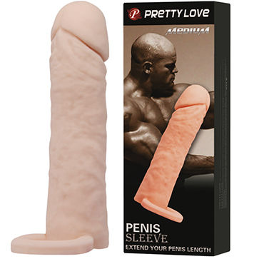 Baile Pretty Love Penis Sleeve Medium Удлиняющая на 4 см насадка на пенис baile pretty love chester черное виброкольцо на пенис