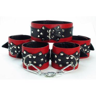 BDSM Арсенал комплект, красно-черный Ошейник, наручники и наножники podium намордник черный с металлическими заклепками