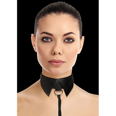 Ouch! Classic Collar with Leash, черный Ошейник-воротник с поводком ouch reversible collar with wrist