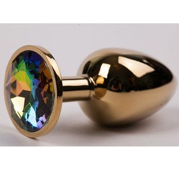 Luxurious Tail Металлическая анальная пробка, золотая С радужным стразом bad kitty silicone ring gag черный экран