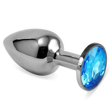 Luxurious Tail Металлическая анальная пробка, серебристая С голубым стразом lola toys emotions cutie medium фиолетовая анальная пробка с голубым кристаллом