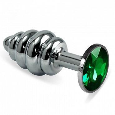 Luxurious Tail Анальная пробка фигурная с зеленым стразом, серебристая Металлическая kanikule малая анальная пробка серебристая с темно зеленым кристаллом