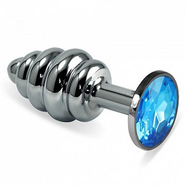 Luxurious Tail Анальная пробка фигурная с голубым стразом, серебристая Металлическая kanikule средняя анальная пробка серебристая с голубым кристаллом