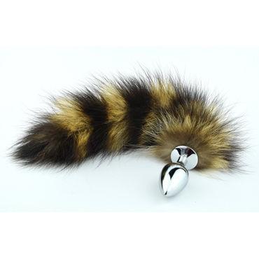 Luxurious Tail Анальная пробка с полосатым хвостом Металлическая luxurious tail red bunny анальная пробка с хвостом