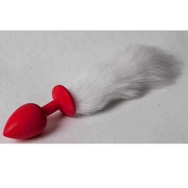 Luxurious Tail Анальная пробка с белым хвостом, красная Силиконовая luxurious tail red bunny анальная пробка с хвостом