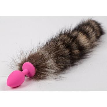 Luxurious Tail Анальная пробка с полосатым хвостом, розовая Силиконовая luxurious tail анальная пробка розовая с ограничительным основанием