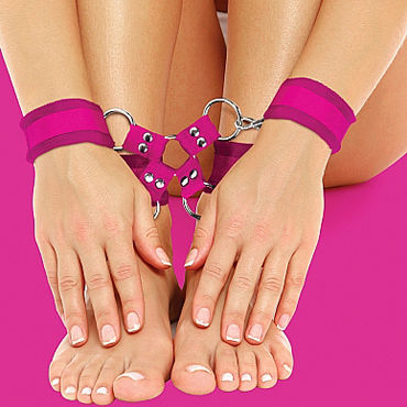 Ouch! Velcro Hand And Leg Cuffs, розовый Комплект для бандажа pipedream hollow strap on with balls 23 см телесный фаллопротез с креплением