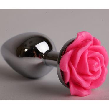 Luxurious Tail Анальная пробка, серебристая Средняя, с розовой розой kanikule малая анальная пробка серебристая с синей сферой в основании