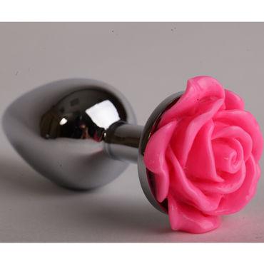 Luxurious Tail Анальная пробка, серебристая Большая, с розовой розой gopaldas probe tip анальная вибропробка